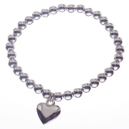 Bracelet. Stretch, Beads, Heart