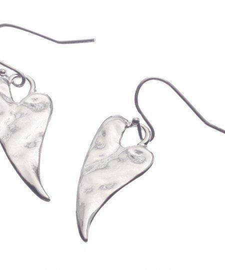 Earrings, Hearts. Drop, Silver