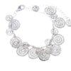 Cascading Silver Filigree Discs on Charm Bracelet