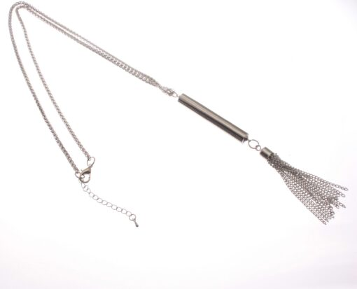Long Pendant Necklace with Long Tassel