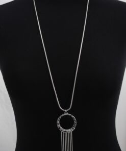 Long Pendant Necklace with Circle and Tassels