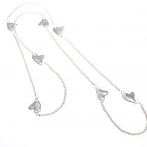 Cascading Hearts on Long Chain Necklace