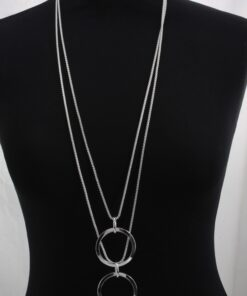 Long Pendant double circles on double beaded chain