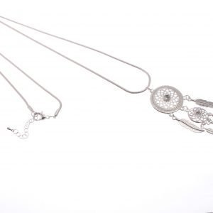 Long Necklace with Dream Catcher Pendant on Snake Chain