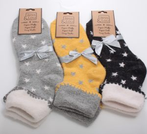 Cosy Comfortable Cuff Socks with Star Print