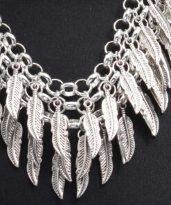 Chunky Party Necklace with Feather Drops