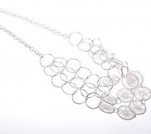 Cascading Silver Filigree Discs Necklace