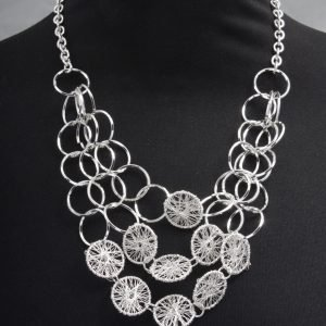 Cascading Silver Filigree Discs Necklace