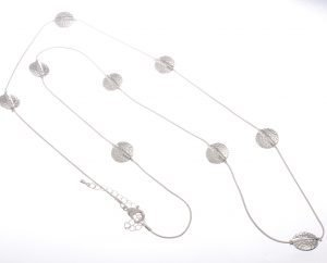 Cascading circles on long necklace