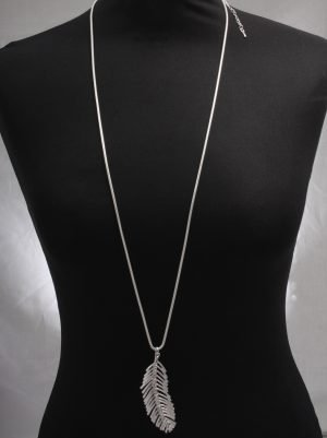Large Feather Pendant on long chain necklace