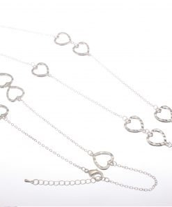 Long necklace with cascading hearts