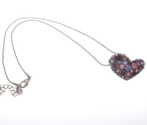 Short Diamante Heart Necklace